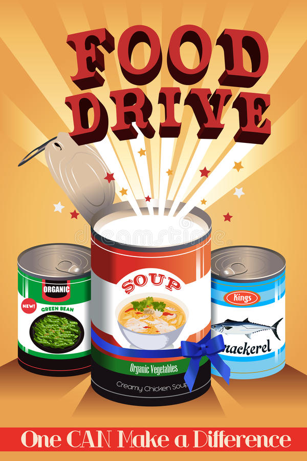 Food Drive Poster vector illustration