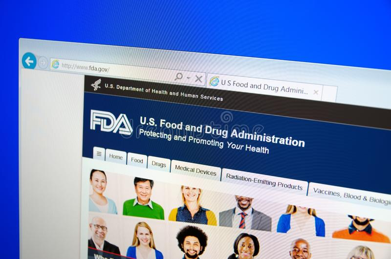 Food and Drug Administration. SARANSK, RUSSIA - December 12, 2015: A computer screen shows details of Food and Drug Administration FDA or USFDA main page on its royalty free stock photo