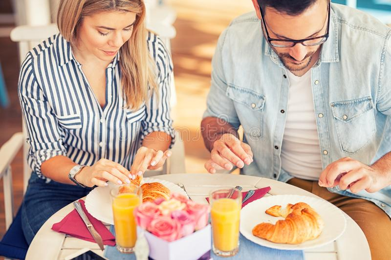 Food, eating, people and healthy food. Concept , couple having breakfast stock image