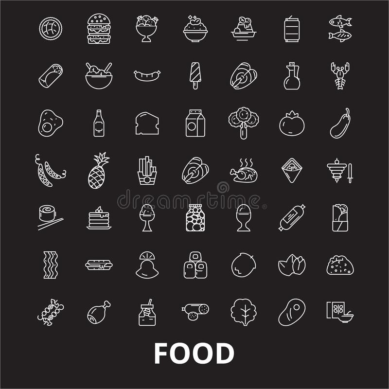 Food editable line icons vector set on black background. Food white outline illustrations, signs, symbols stock illustration
