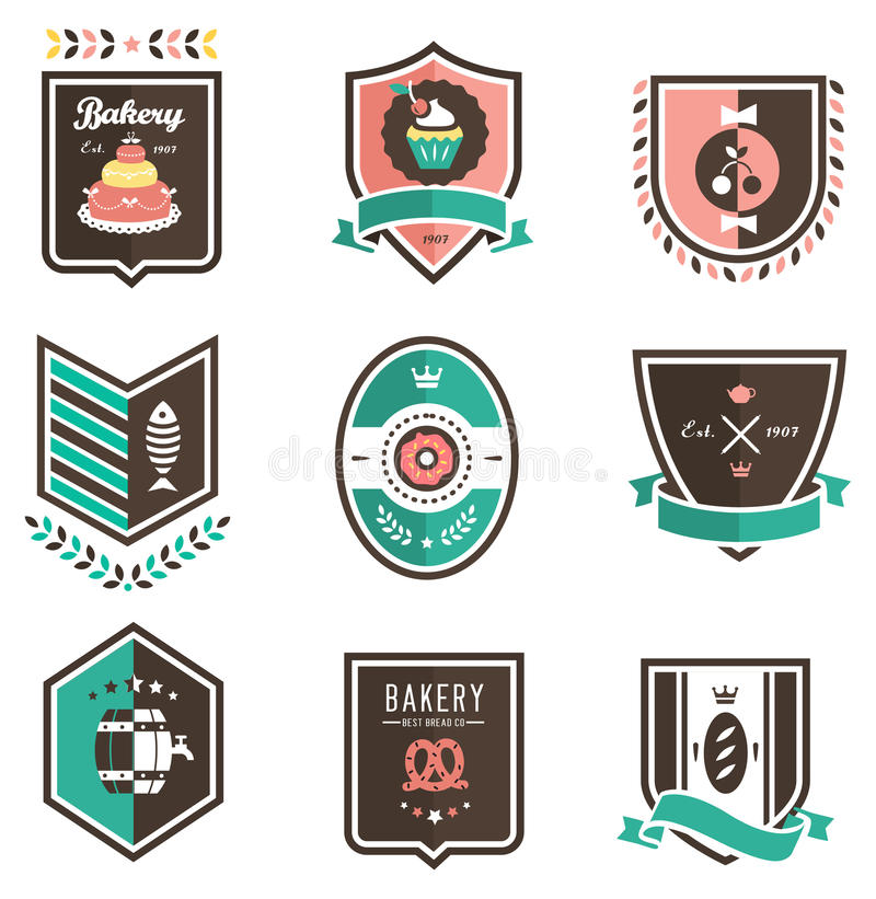 Download Food emblems stock vector. Image of donut, seafood, shield - 24145315