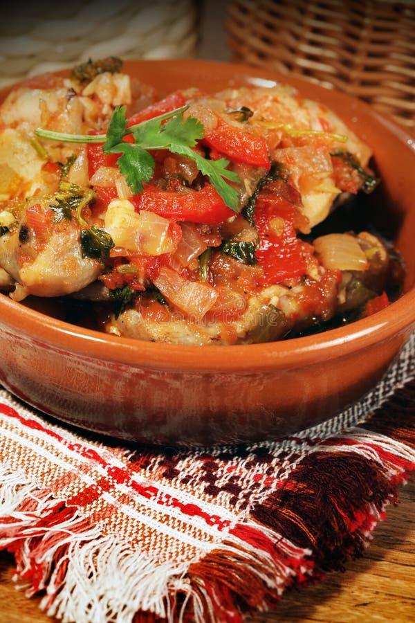 Food of ethnic cuisine of Georgia, Chahochbilli of chickens. Hot a dish of ethnic cuisine of Georgia prepared from chicken meat : Chahochbilli stock photo