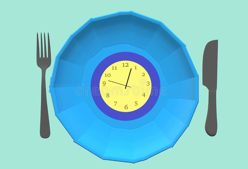 Food expiry date - a clock on a plate with fork and butter knife royalty free stock images