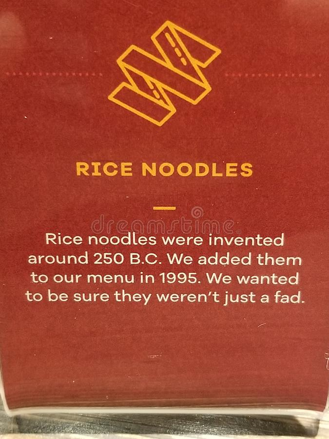 Food Fact. Rice Noodles food fact from the Noodle Company stock image