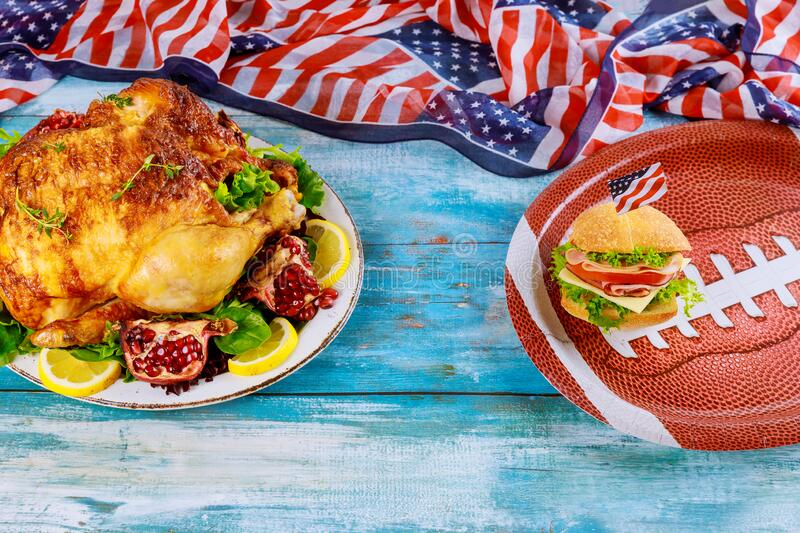 Food for fans of american football game watching at home royalty free stock images