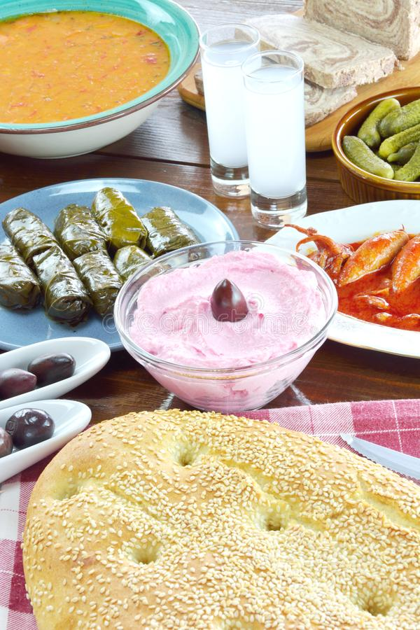 Food for fasting period. On wooden tablen royalty free stock image