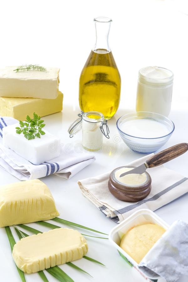 Food Fats and oil : set of dairy product and oil and animal fats on a white background stock images