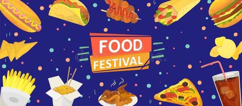 Food festival banner poster vector illustration. Celebration flyer template. Fast food hamburgers, french fries, chips vector illustration
