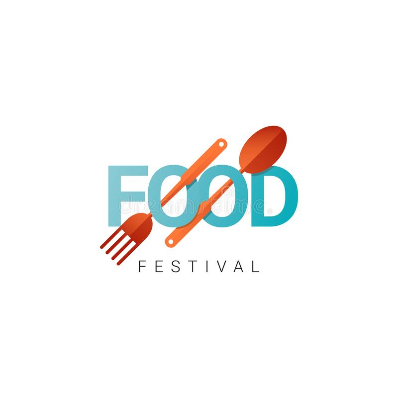 Food Festival Logo Vector Template Design Illustration. Cooking, icon, chef, cafe, menu, restaurant, isolated, background, graphic, concept, poster, art, truck stock illustration