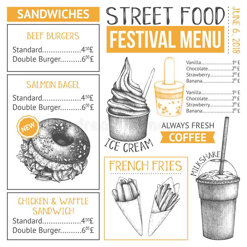 Fast food restaurant or cafe menu template. Hand drawn burgers, desserts and drinks illustrations. Food truck flyer design on whit. E background stock illustration