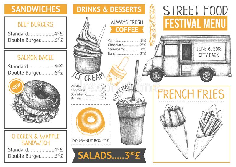 Food truck menu design on chalkboard. Fast food Restaurant flyer. Vector cafe template with hand drawn graphic - burgers, drinks,. Desserts on chalkboard royalty free illustration