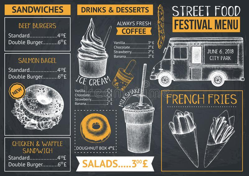 Fast food restaurant or cafe menu template. Hand drawn burgers, desserts and drinks illustrations. Food truck flyer design on chal royalty free illustration
