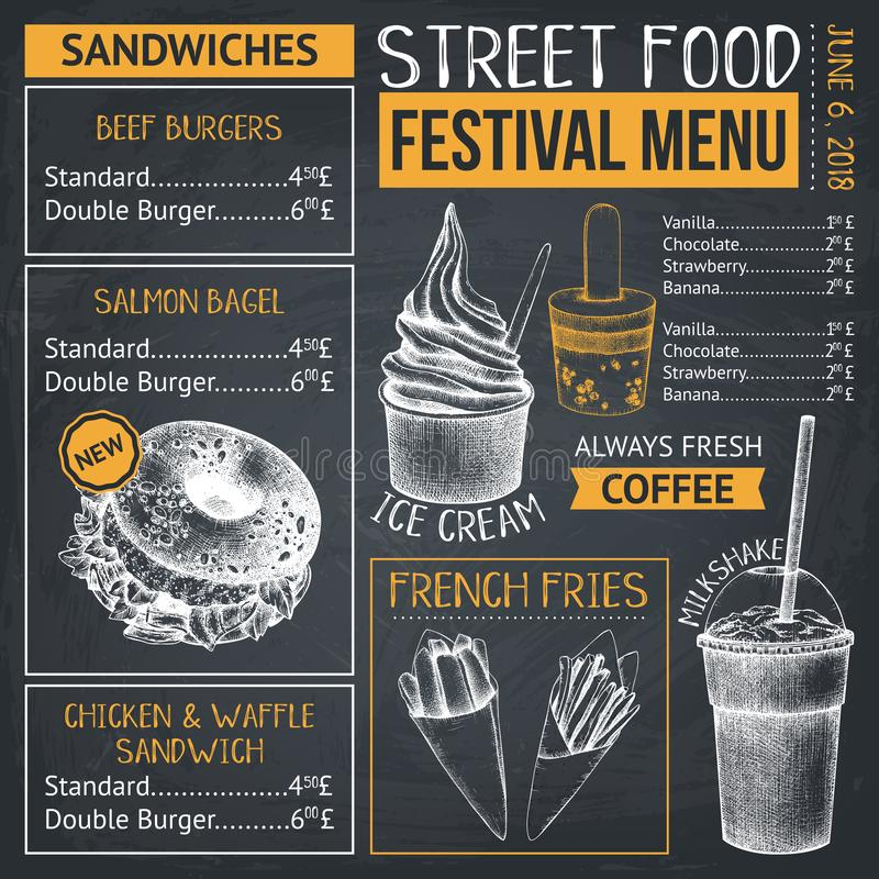 Food truck menu design on chalkboard. Fast food Restaurant flyer. Vector cafe template with hand drawn graphic - burgers, drinks,. Desserts royalty free illustration