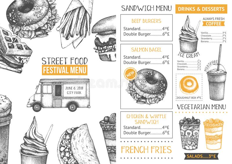 Fast food restaurant or cafe menu template. Hand drawn burgers, desserts and drinks illustrations. Food truck flyer design on chal. Kboard vector illustration