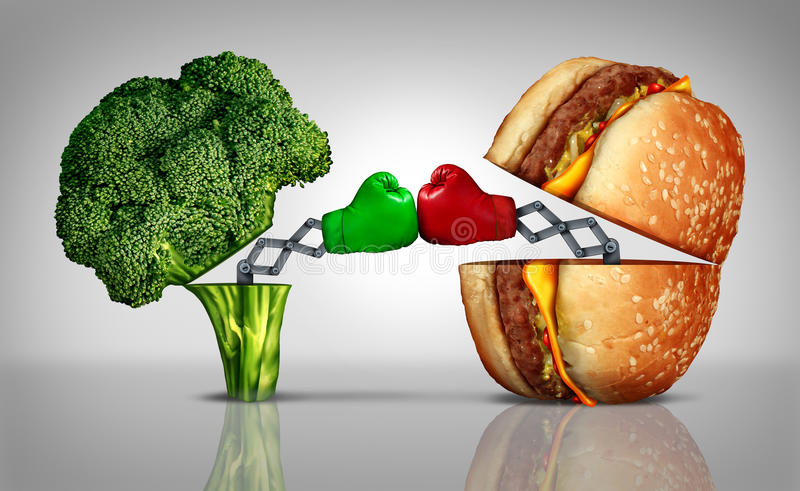 Food Fight. Nutrition concept as a fresh healthy broccoli fighting an unhealthy cheese burger with boxing gloves emerging out of the meal options punching each