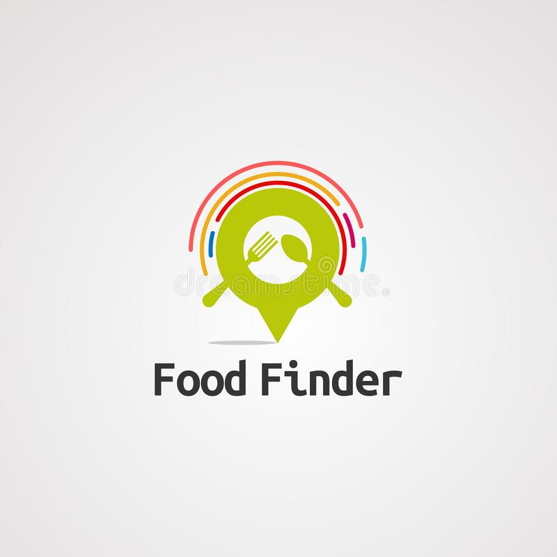 Food finder location logo vector, icon, element, and template for company stock illustration