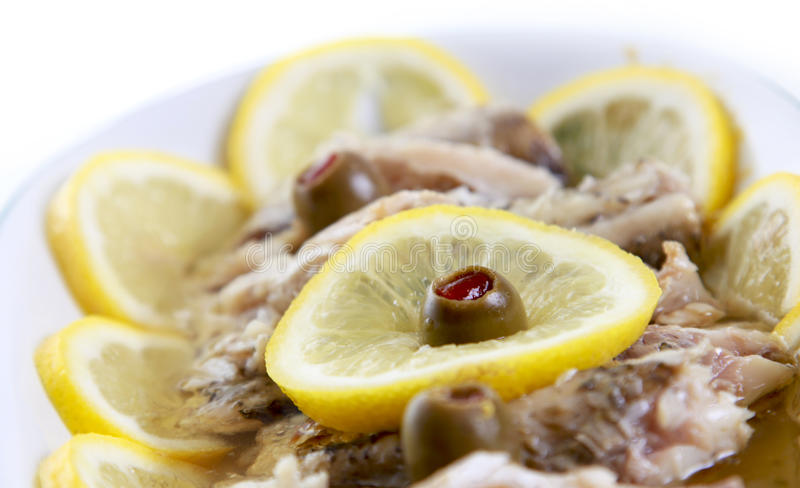 Food fish in oil stock photography