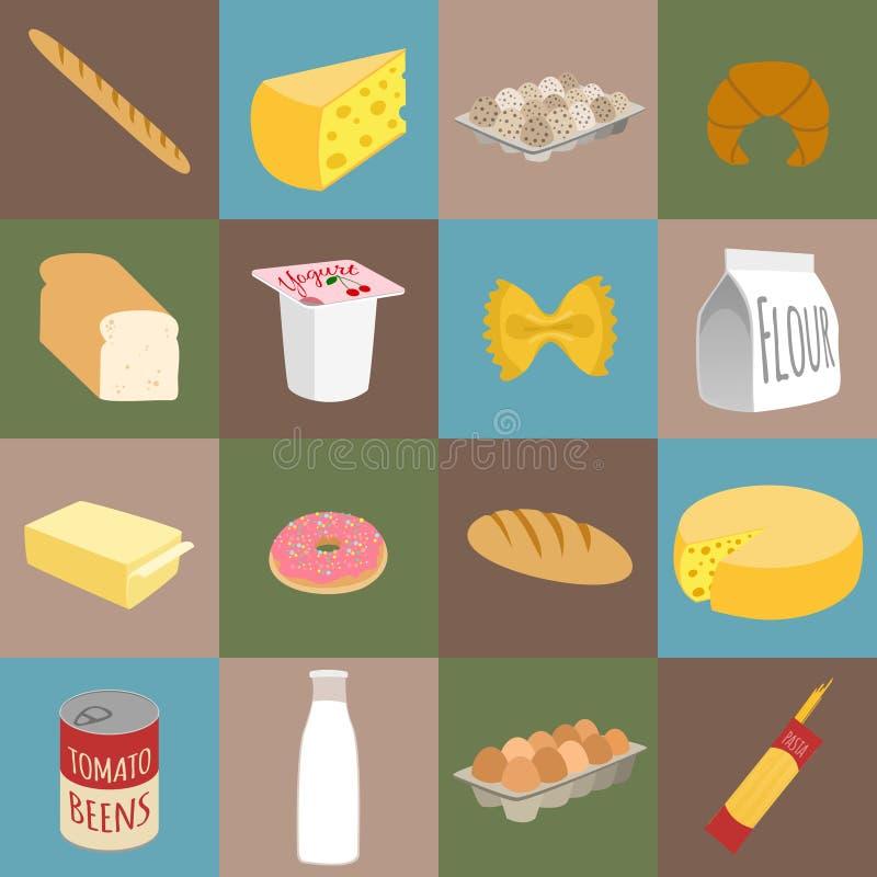 Food flat icons vector illustration