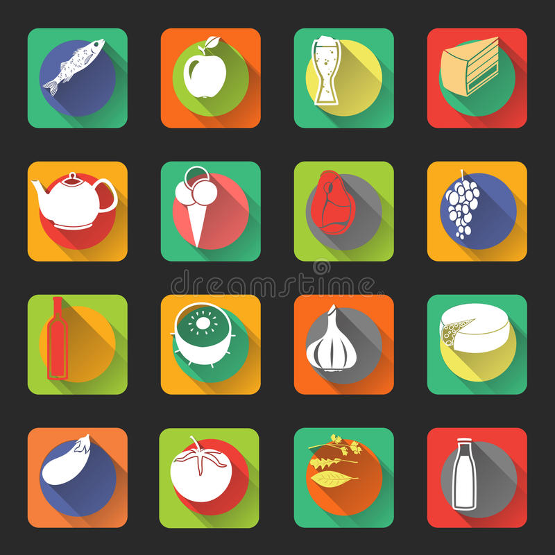 Download Food Flat Icons stock vector. Image of eggplant, food - 41130033