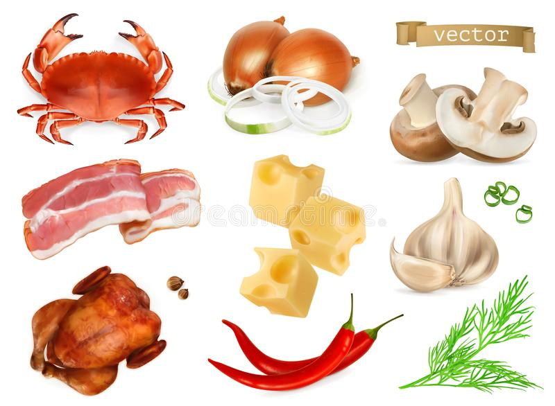 Food flavors and seasonings for snacks, natural additives, spice and other taste in cooking. 3d vector icon set vector illustration