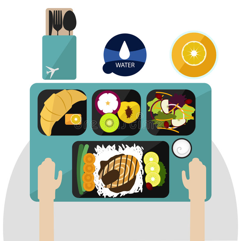 Food on Flight, dinner on airplane vector royalty free stock images
