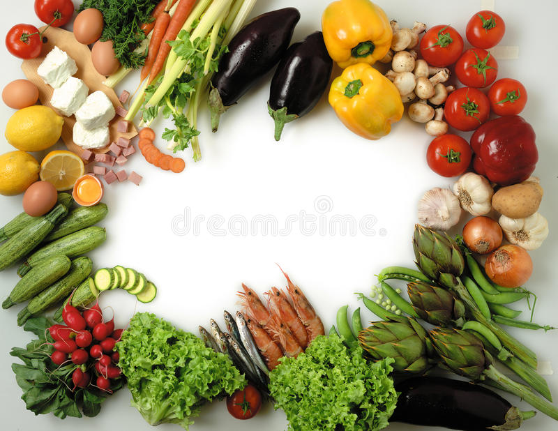 Food frame. Variety of fresh food doing a frame royalty free stock image