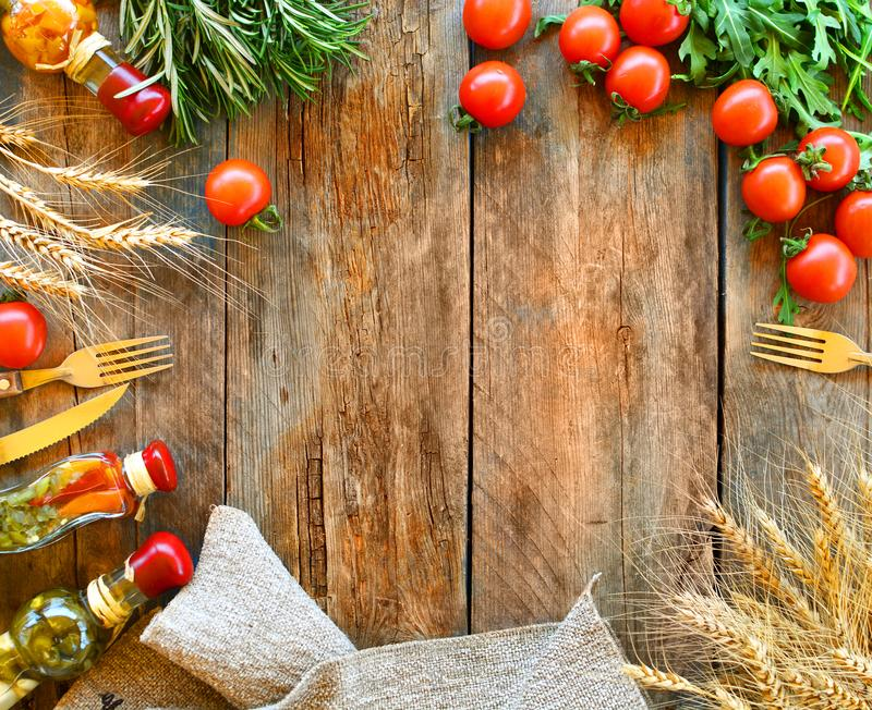 Food frame background with copy space. Rustic italian cuisine background. stock photo