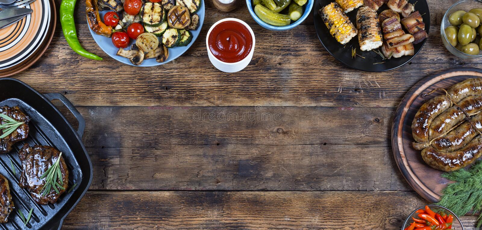Food frame and barbecue dishes. stock photo