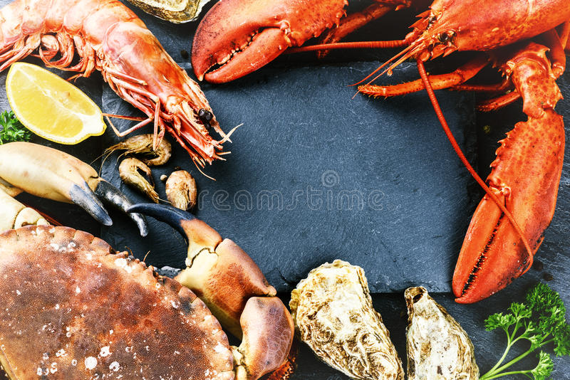 Food frame with crustacean for dinner. Lobster, crab, jumbo shri. Mps and oysters on dark background royalty free stock photos
