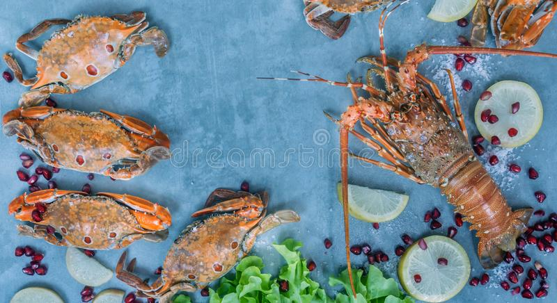Food frame with crustacean royalty free stock photo