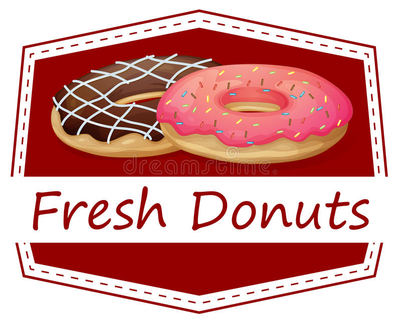A food with a fresh donuts label vector illustration