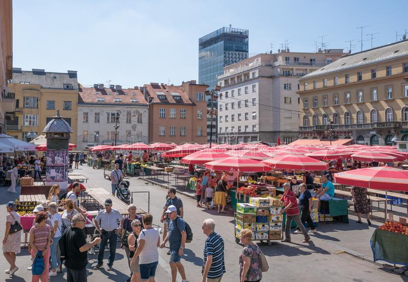 View of market place in city center square in Zagreb stock image
