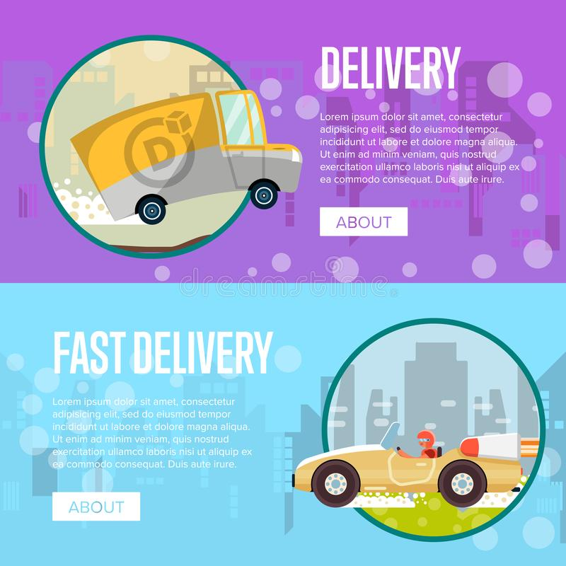 Food and furniture store delivery posters royalty free illustration