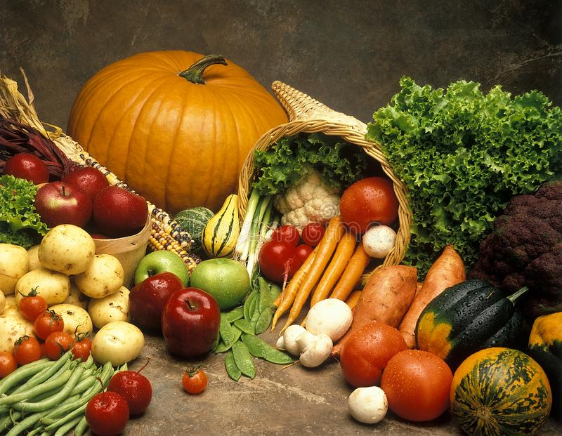 Food and garden fall harvest of friuts and vegatables royalty free stock images