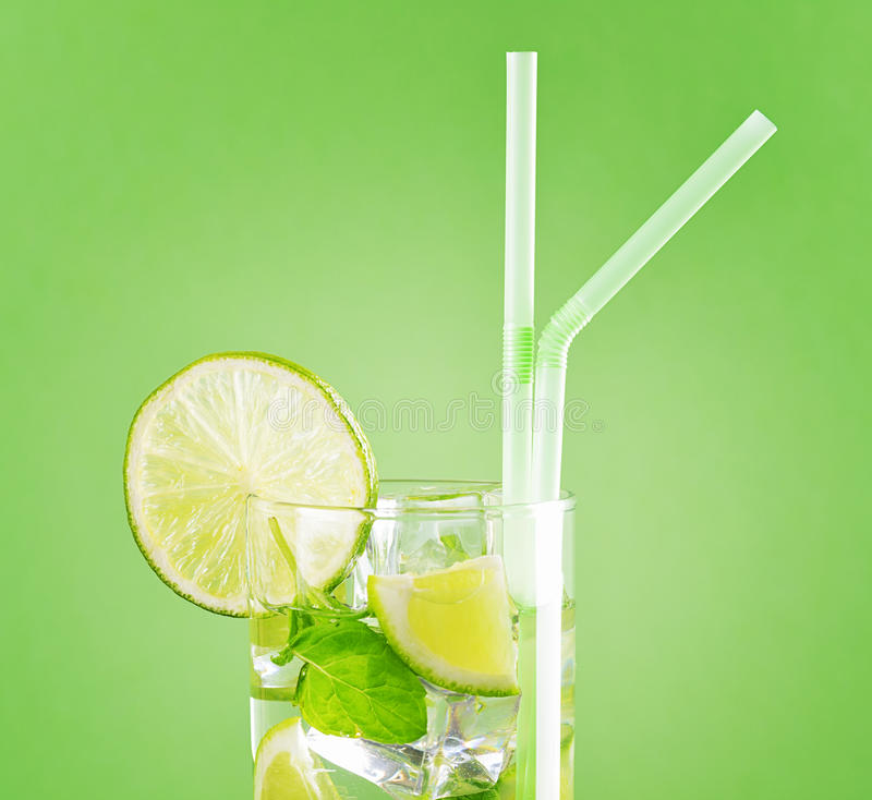 Glass of mojito cocktail stock photography