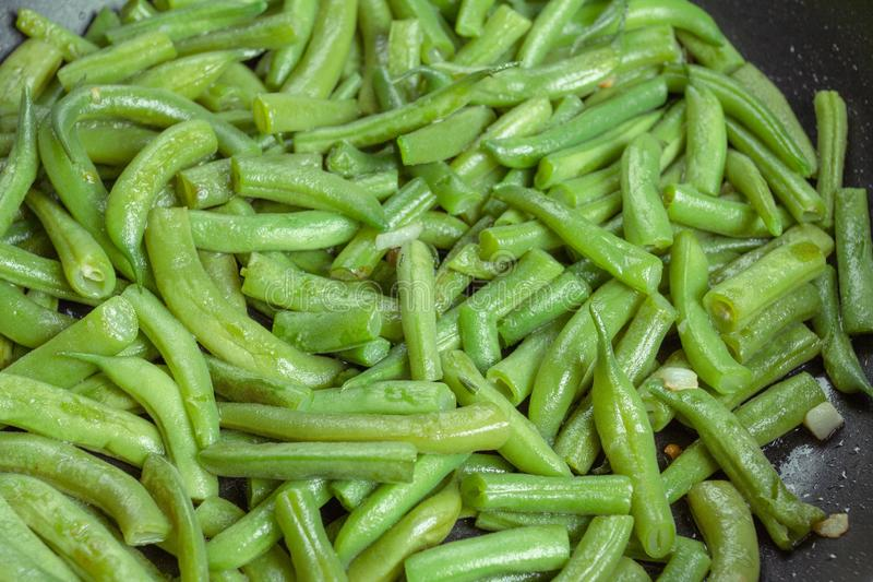 Food green dish vegetable beans,  fried royalty free stock photography