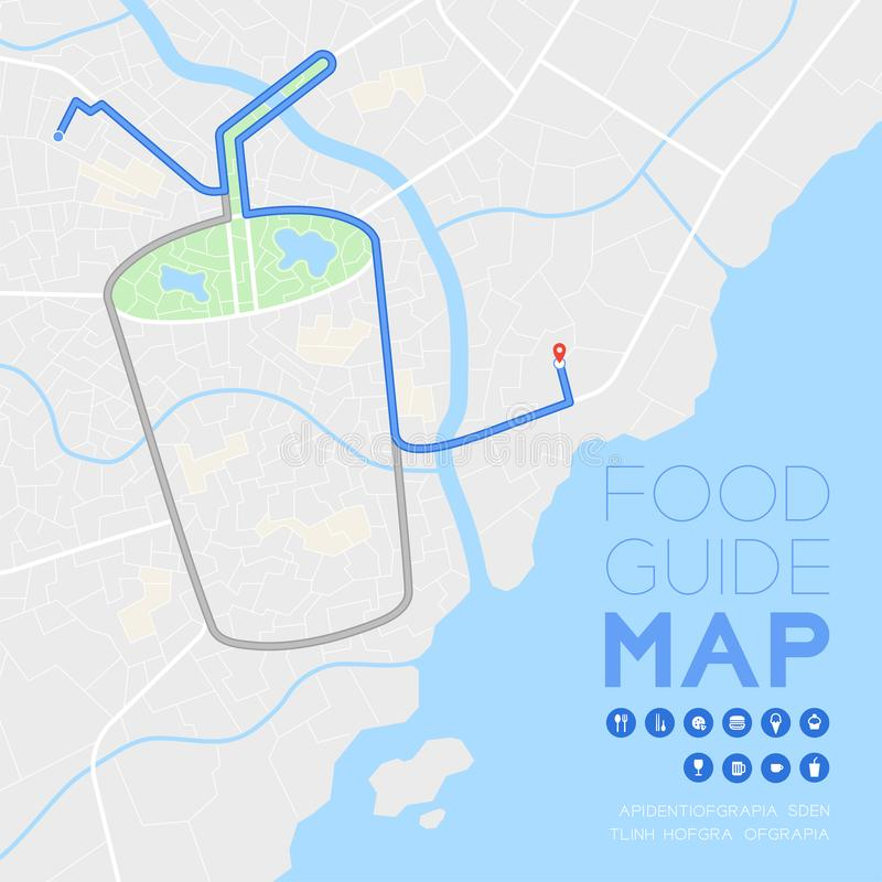 Food guide direction map travel with icon concept, Road drink glass with straw shape design in daytime mode illustration isolated. On grey background with copy vector illustration
