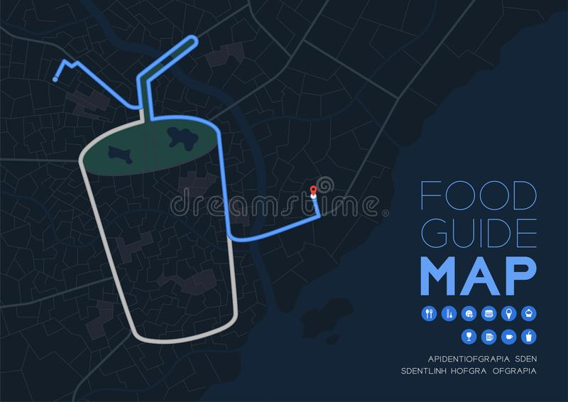 Food guide direction map travel with icon concept, Road drink glass with straw shape design in nighttime mode illustration royalty free illustration
