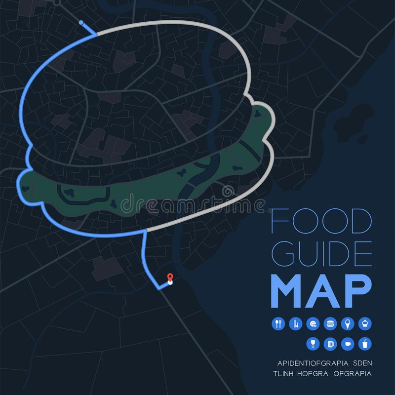 Food guide direction map travel with icon concept, Road hamburger shape design in nighttime mode illustration isolated on grey vector illustration