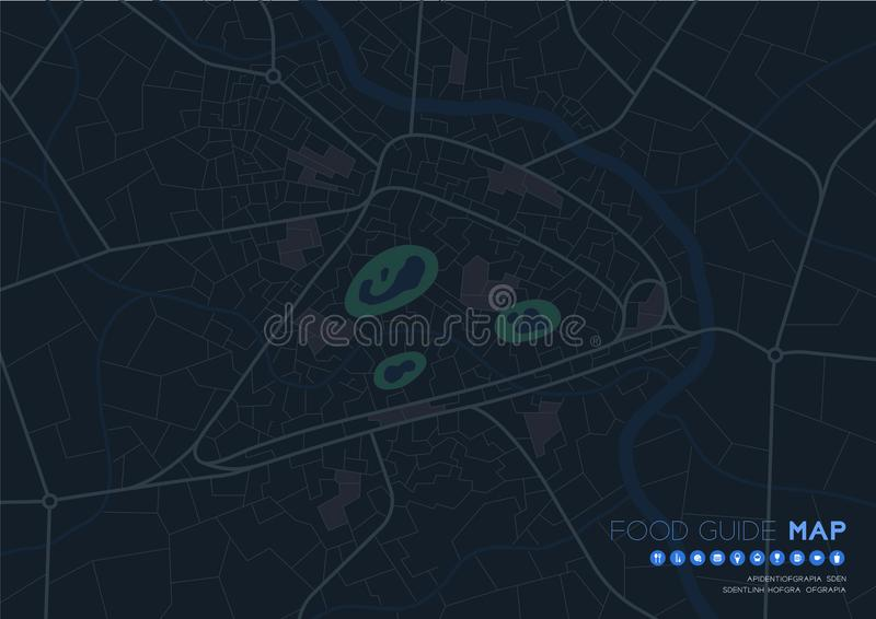 Food guide map travel with icon concept, Road pizza shape design in nighttime mode illustration isolated on grey background with. Copy space, vector eps 10 royalty free illustration