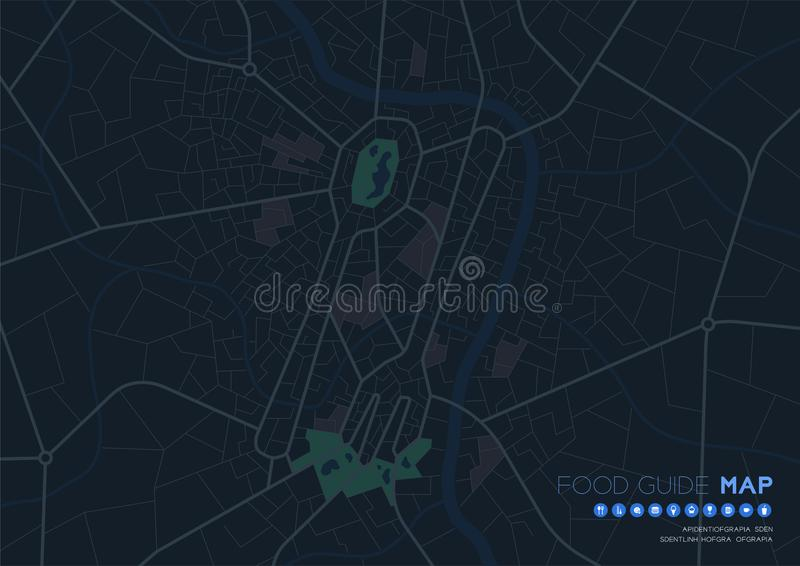 Food guide map travel with icon concept, Road Spoon and fork shape design in nighttime mode illustration isolated on grey stock illustration
