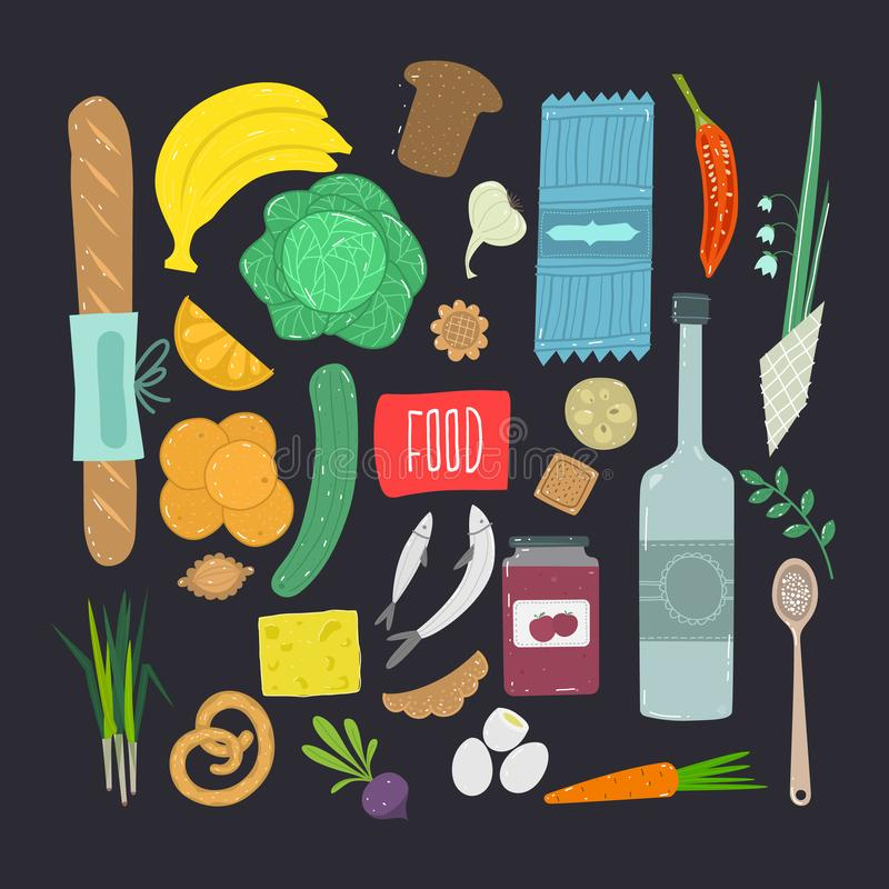 Food. Hand drawn set of healthy food ingredient  with lettering. stock illustration