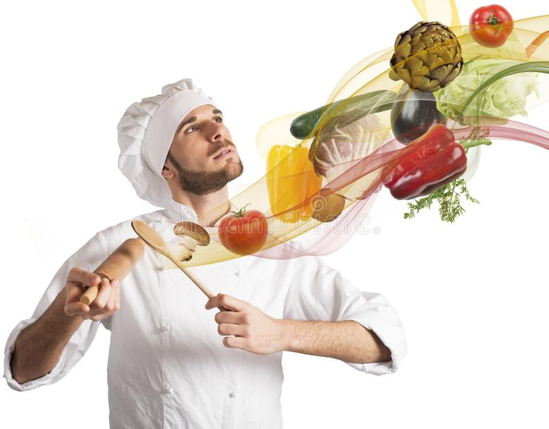 Food harmony. Creative chef plays a harmony of food stock photos