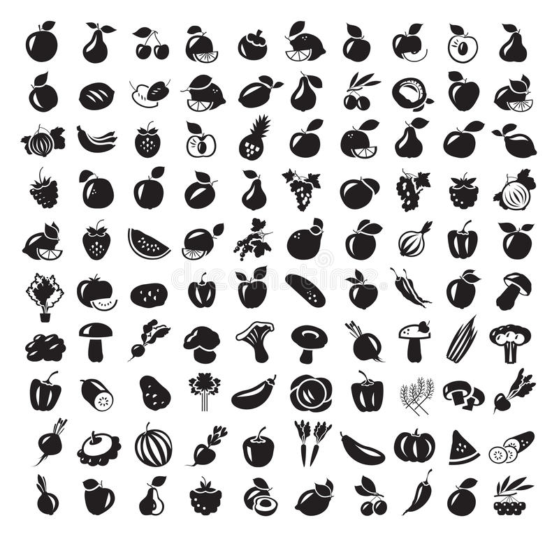 Food, Harvest. Fruit and vegetables icon set stock illustration