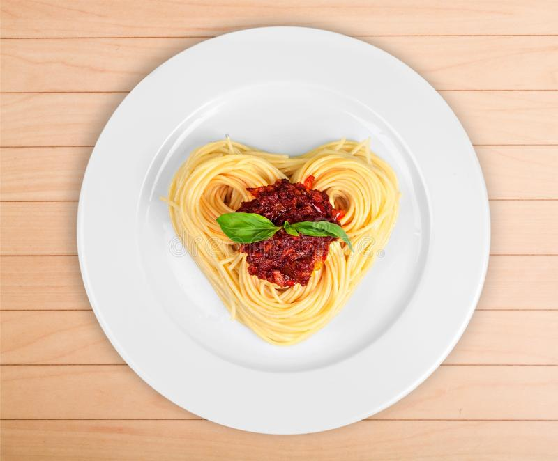 Food. Heart love lovely concept pasta cooking royalty free stock photos