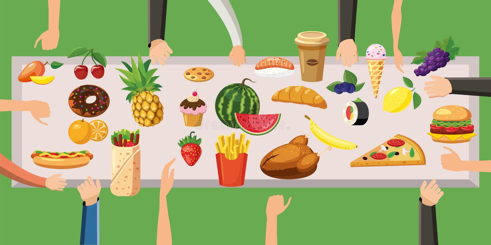Food horizontal banner table cartoon style stock vector for Tisch graphic design