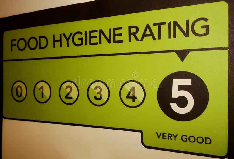 Food Hygiene Rating. VERY GOOD food hygiene rating from the United Kingdom Food Standards Agency stock photos