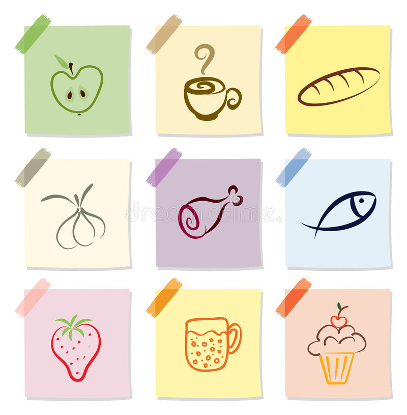 Food icon. Vector set of food icon on note paper