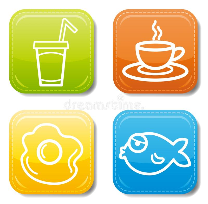 Download Food icon color set stock vector. Illustration of bright - 19942127