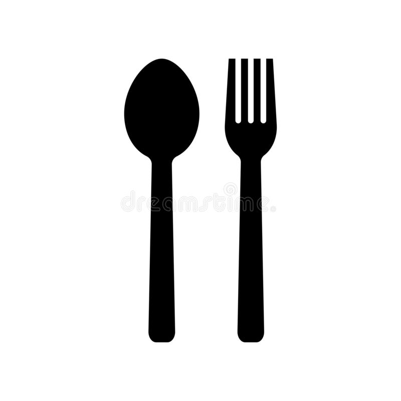 Food icon in flat style. Spoon and fork symbol royalty free illustration